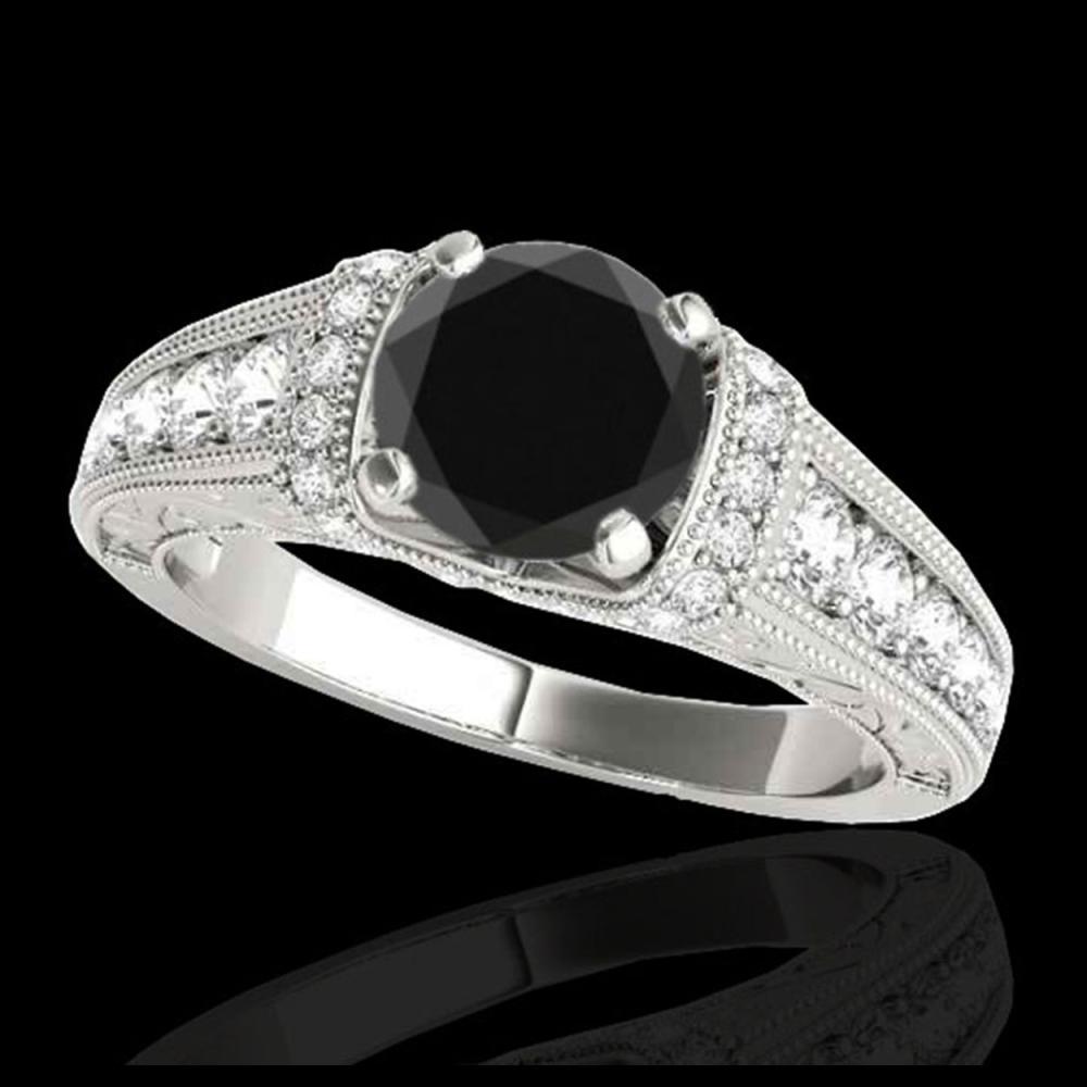 1.75 ctw VS Black Diamond Solitaire Ring 10K White Gold - REF-61N5A - SKU:34786