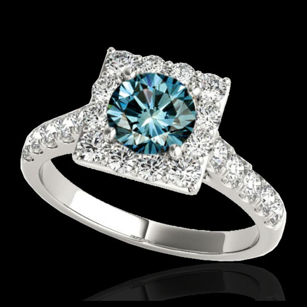 2.5 ctw SI Fancy Blue Diamond Solitaire Halo Ring 10K White Gold - REF-218W2H - SKU:34146
