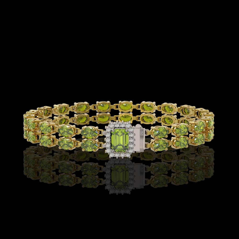 16.97 ctw Tourmaline & Diamond Bracelet 14K Yellow Gold - REF-232Y2X - SKU:45730