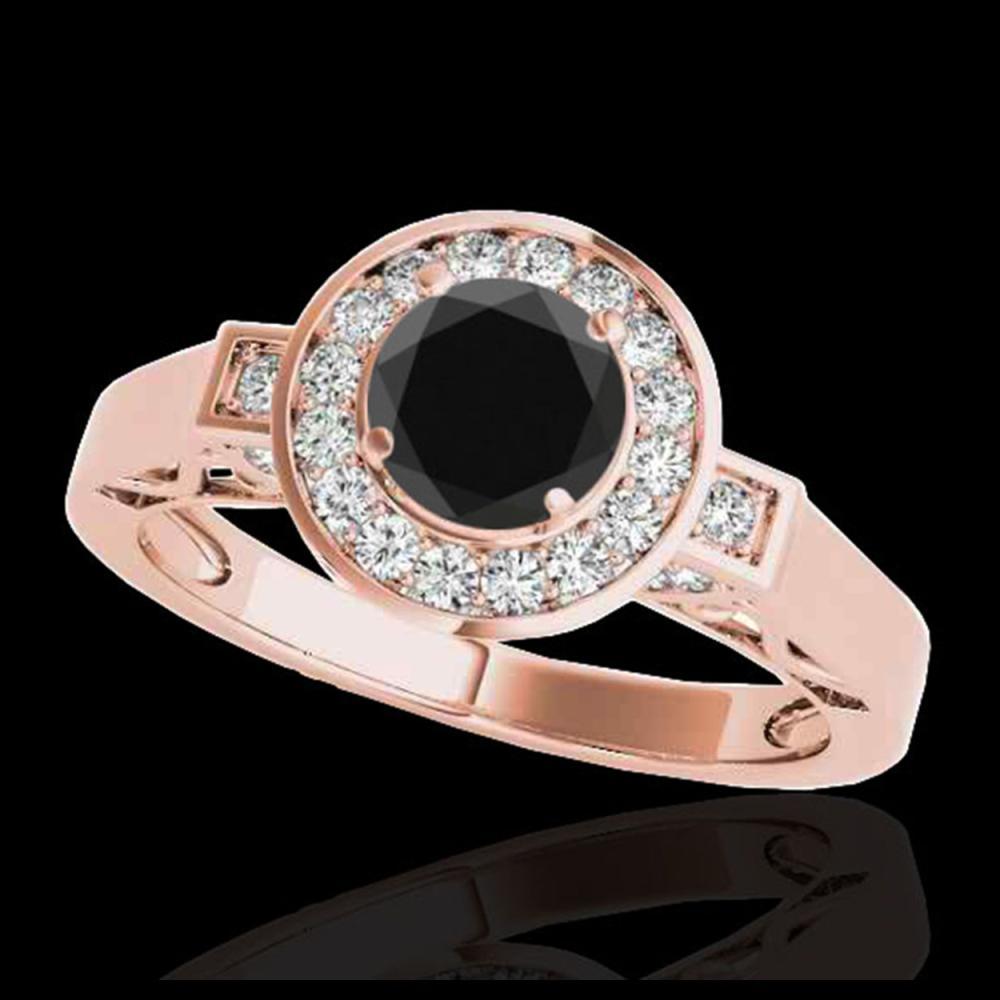 1.50 ctw VS Black Diamond Solitaire Halo Ring 10K Rose Gold - REF-62K7W - SKU:34571