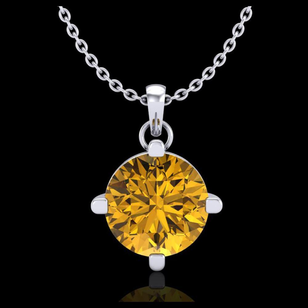 1 ctw Intense Fancy Yellow Diamond Art Deco Necklace 18K White Gold - REF-225F5N - SKU:38078