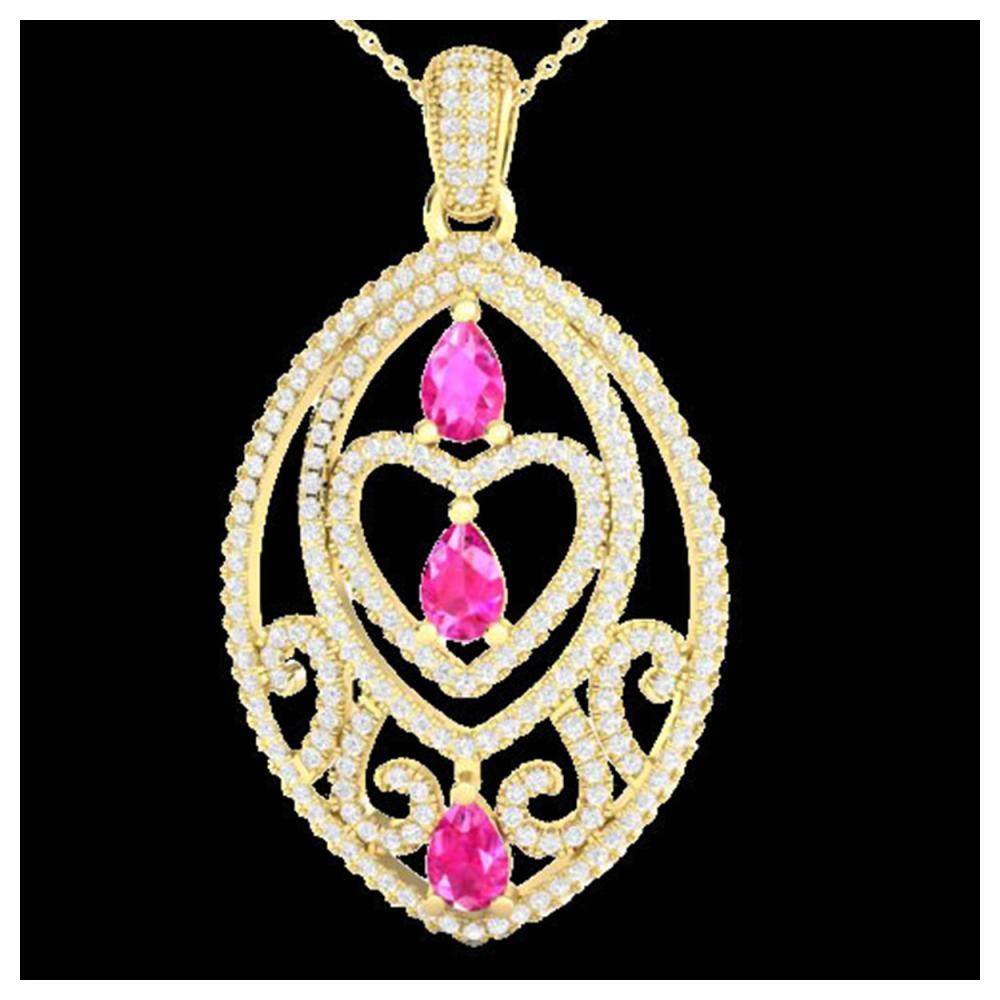 3.50 ctw Pink Sapphire & Diamond Heart Necklace 18K Yellow Gold - REF-218X2R - SKU:21291