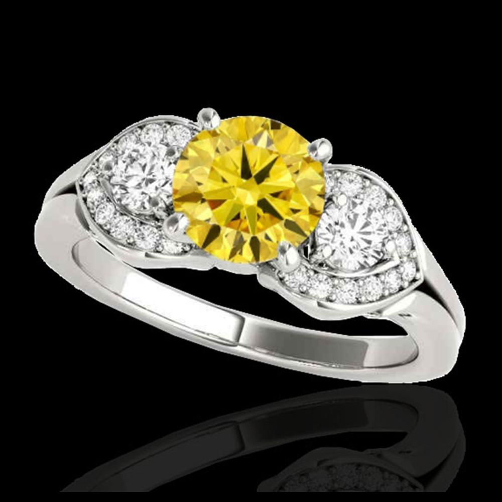 1.45 ctw SI/I Fancy Intense Yellow Diamond 3 Stone Ring 10K White Gold - REF-204H5M - SKU:35338