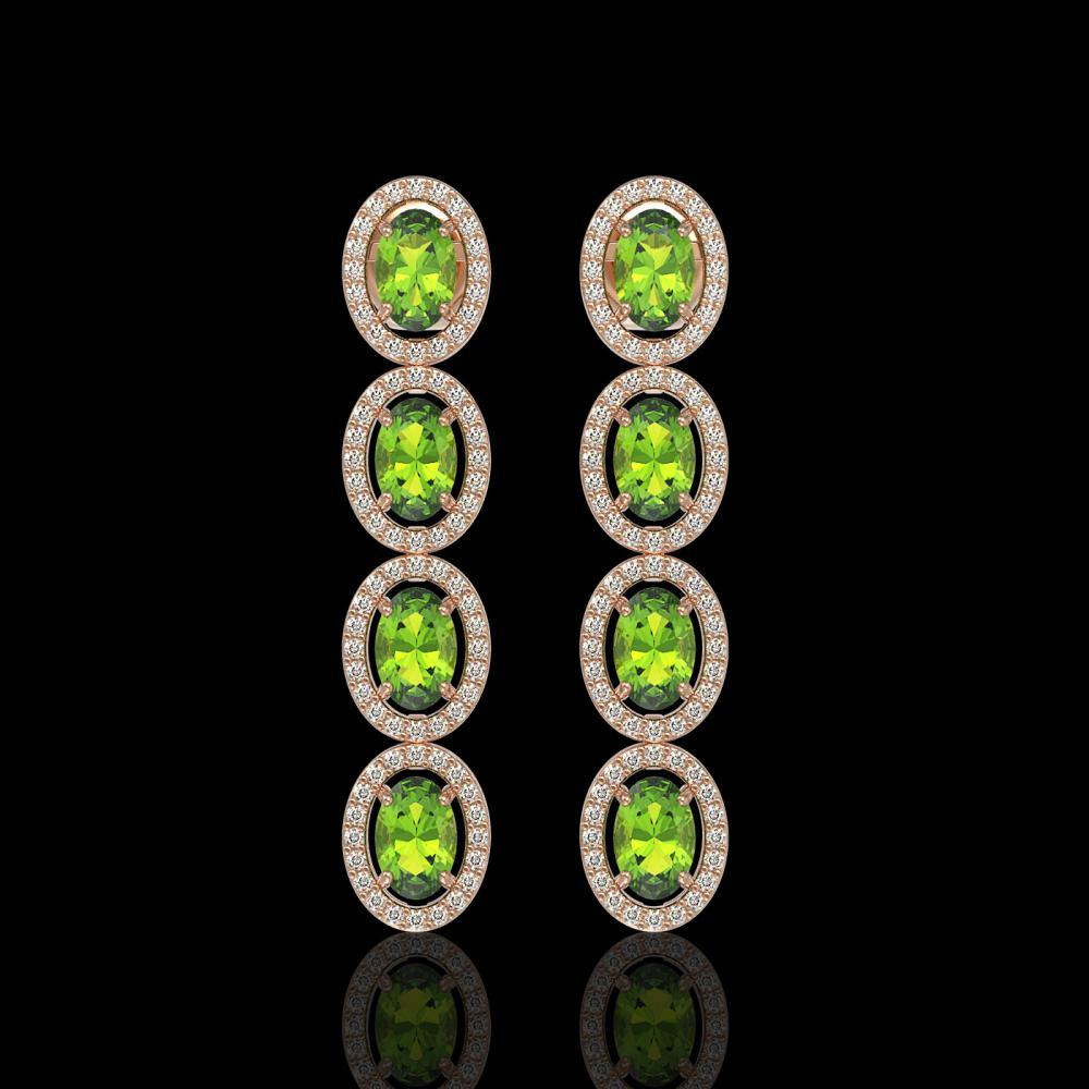 5.88 ctw Peridot & Diamond Halo Earrings 10K Rose Gold - REF-125V5Y - SKU:40530