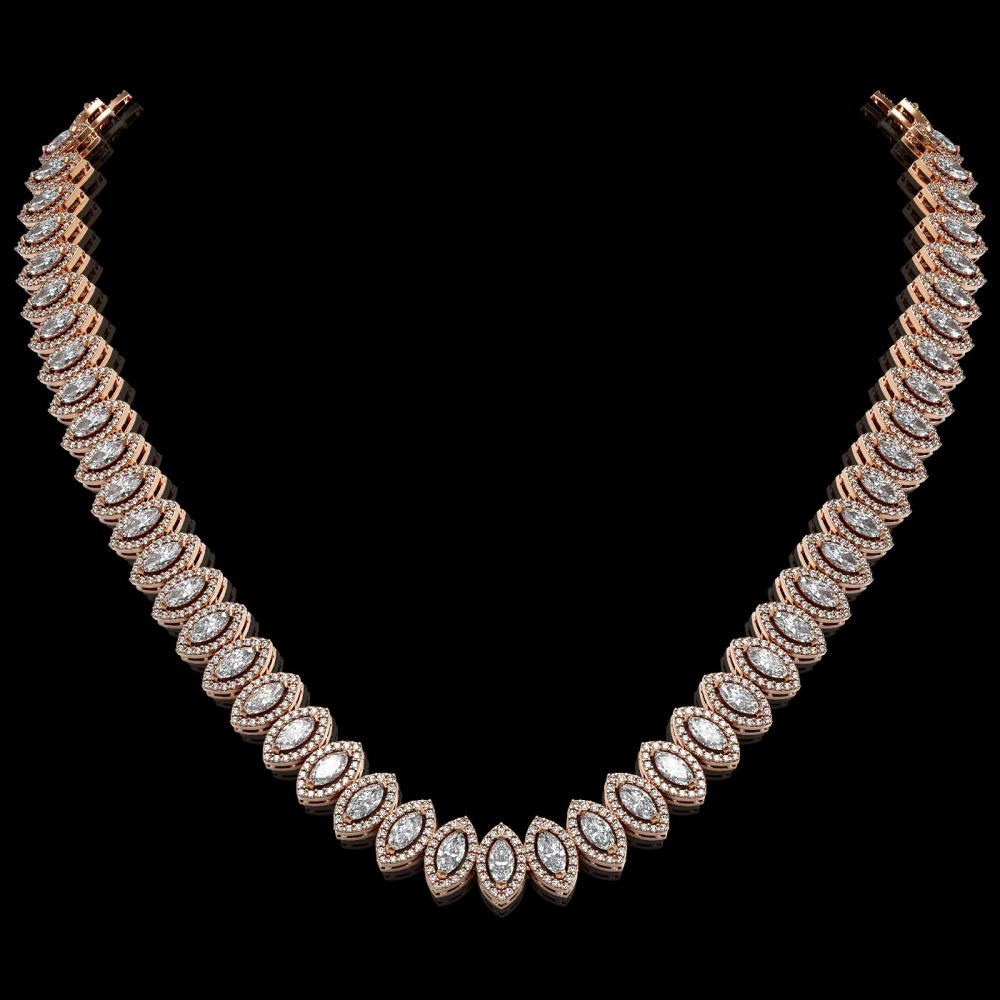 26.11 ctw Marquise Diamond Necklace 18K Rose Gold - REF-2240N2A - SKU:42957