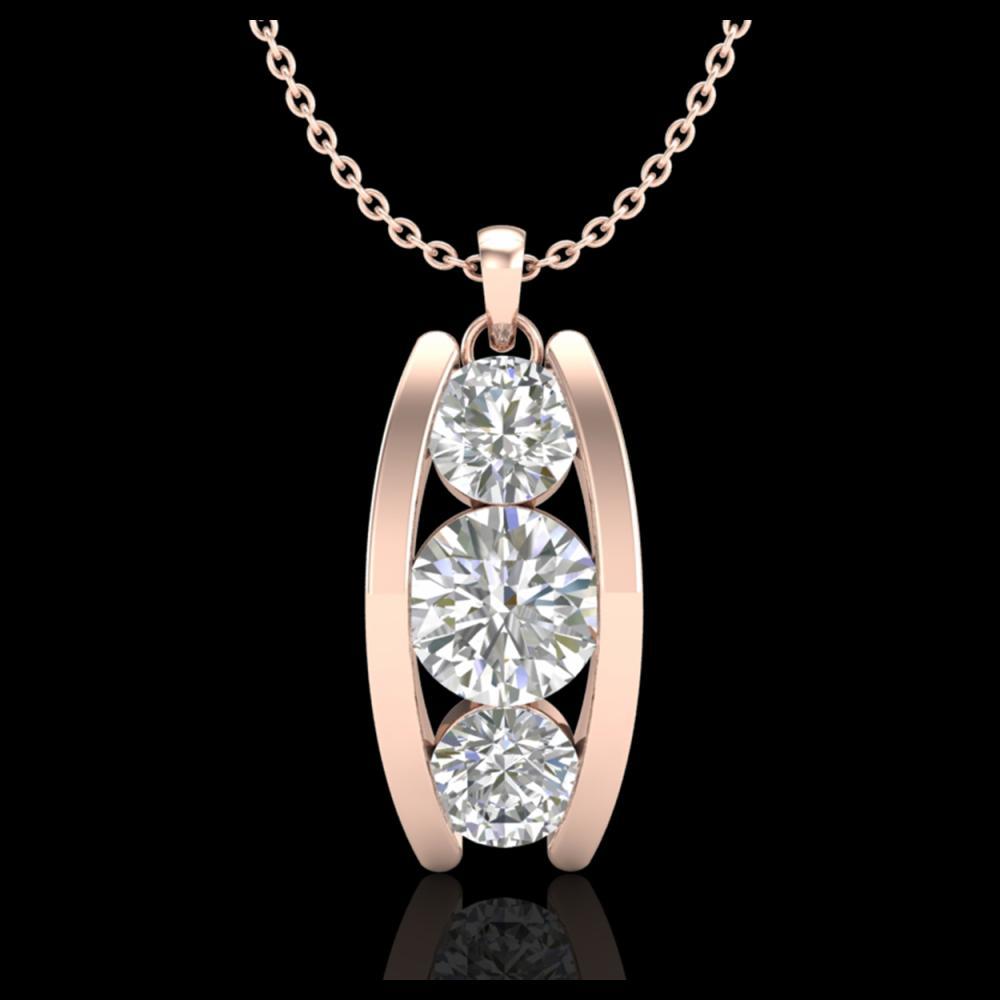 1.07 ctw VS/SI Diamond Solitaire Art Deco Stud Necklace 18K Rose Gold - REF-158M2F - SKU:37014