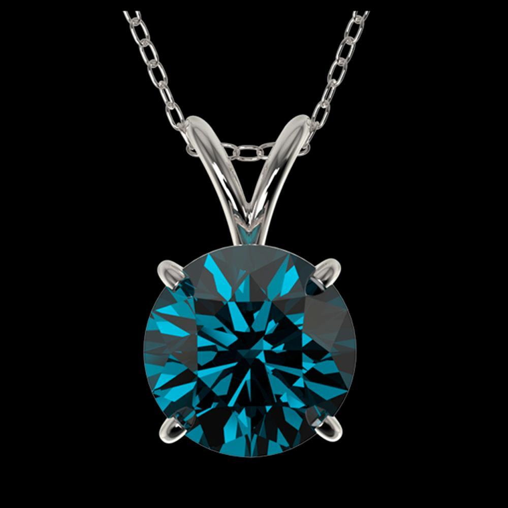 1.55 ctw Intense Blue Diamond Necklace 10K White Gold - REF-237H2M - SKU:36804