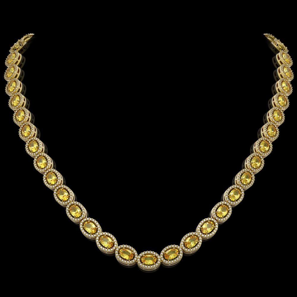 28.52 ctw Fancy Citrine & Diamond Halo Necklace 10K Yellow Gold - REF-498W9H - SKU:40444