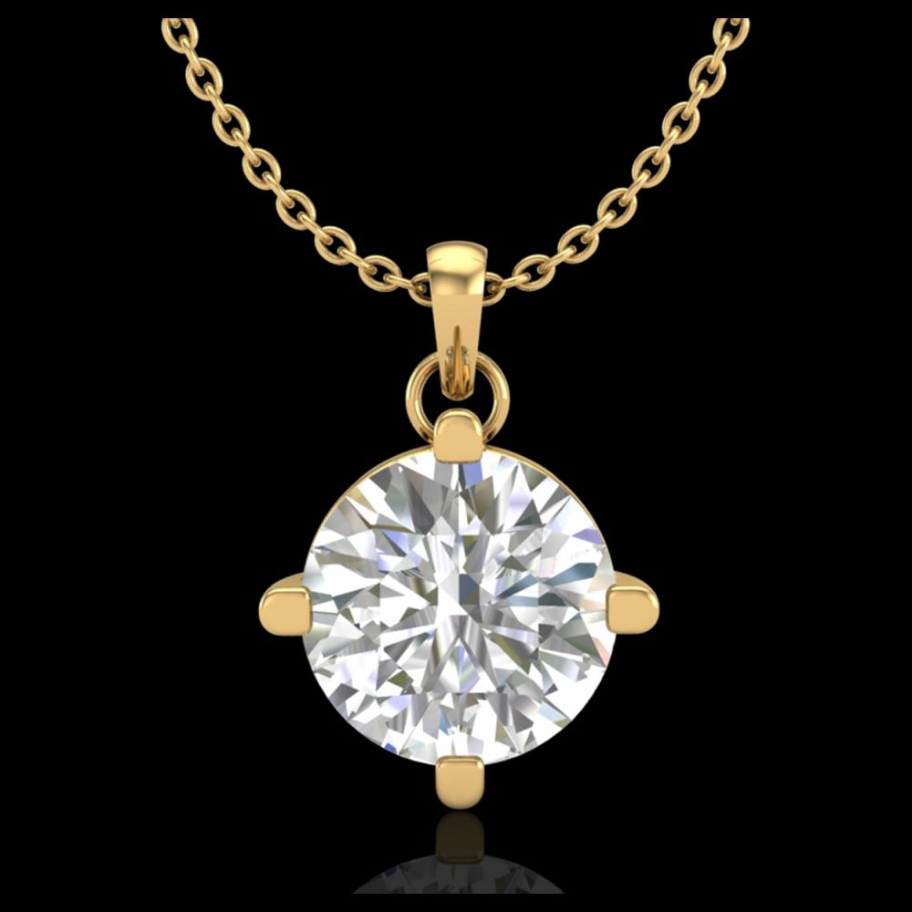 1 ctw VS/SI Diamond Solitaire Art Deco Stud Necklace 18K Yellow Gold - REF-345K5W - SKU:37234