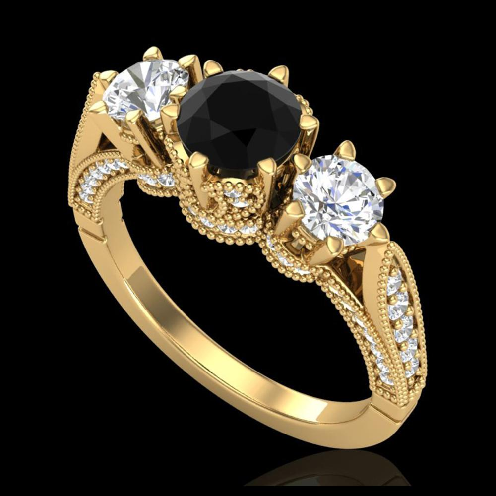 2.18 ctw Fancy Black Diamond Art Deco 3 Stone Ring 18K Yellow Gold - REF-200N2A - SKU:38110
