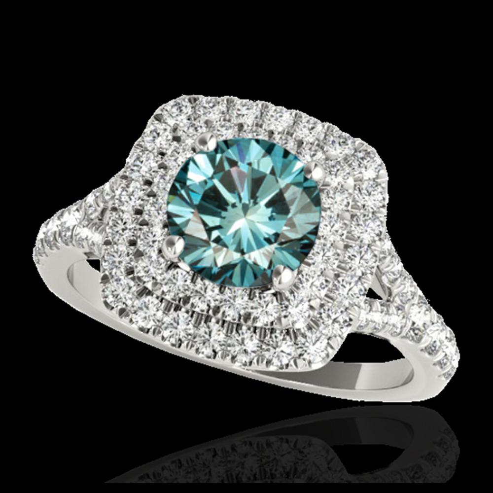 1.60 ctw SI Fancy Blue Diamond Solitaire Halo Ring 10K White Gold - REF-135K2W - SKU:33362