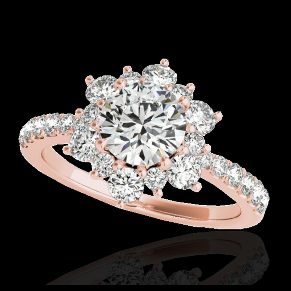 2 ctw H-SI/I Diamond Solitaire Halo Ring 10K Rose Gold - REF-238X6R - SKU:33707
