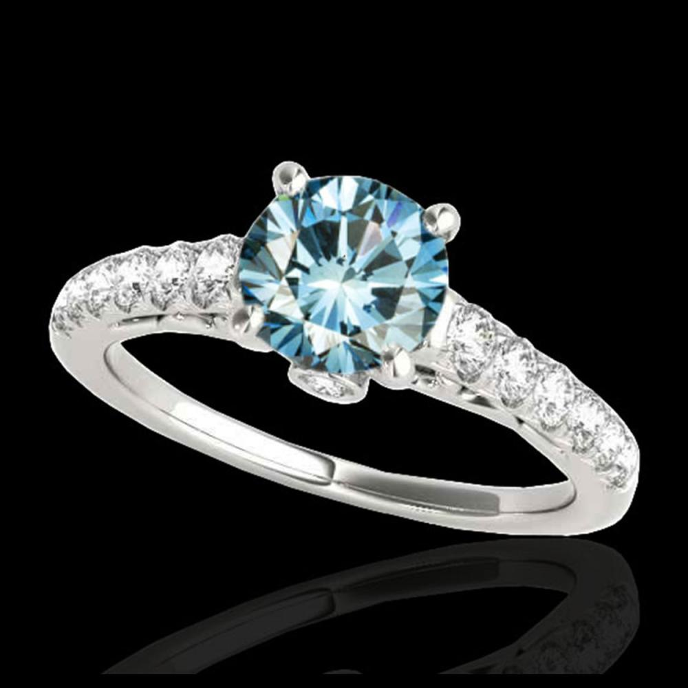 1.50 ctw SI Fancy Blue Diamond Solitaire Ring 10K White Gold - REF-135A2V - SKU:34990