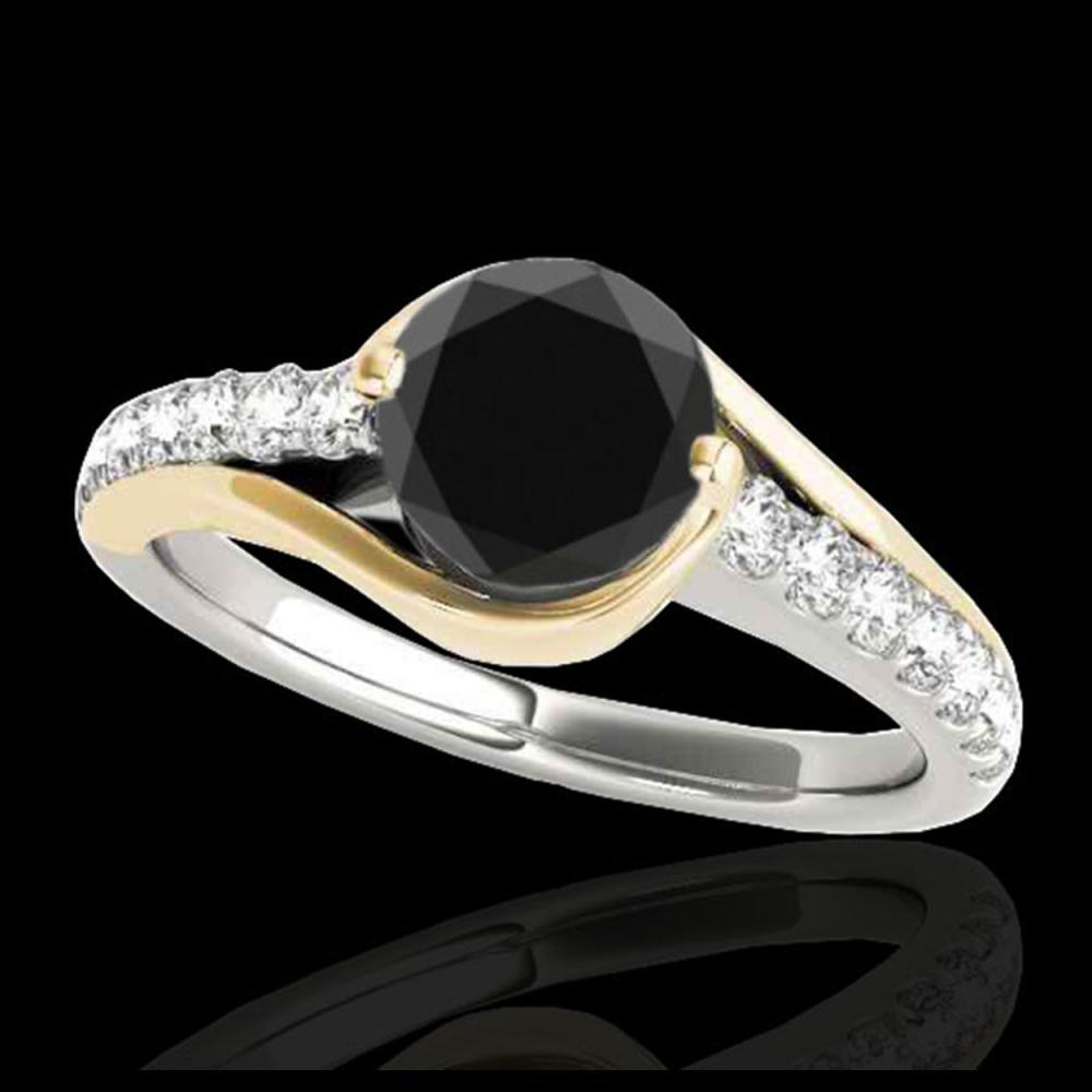 1.25 ctw VS Black Diamond Solitaire Ring 10K White & Yellow Gold - REF-47N2A - SKU:35552