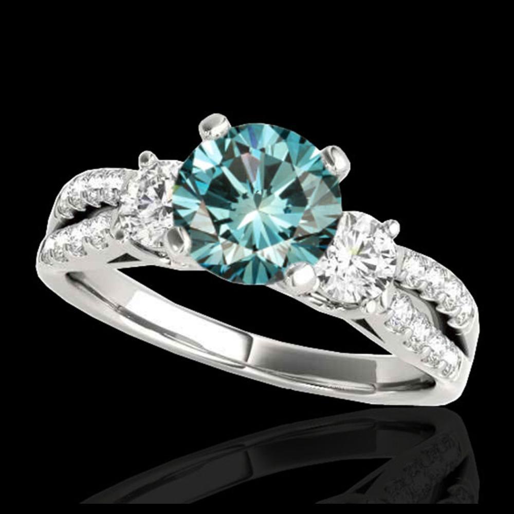 1.75 ctw SI Fancy Blue Diamond 3 Stone Ring 10K White Gold - REF-177A3V - SKU:35417