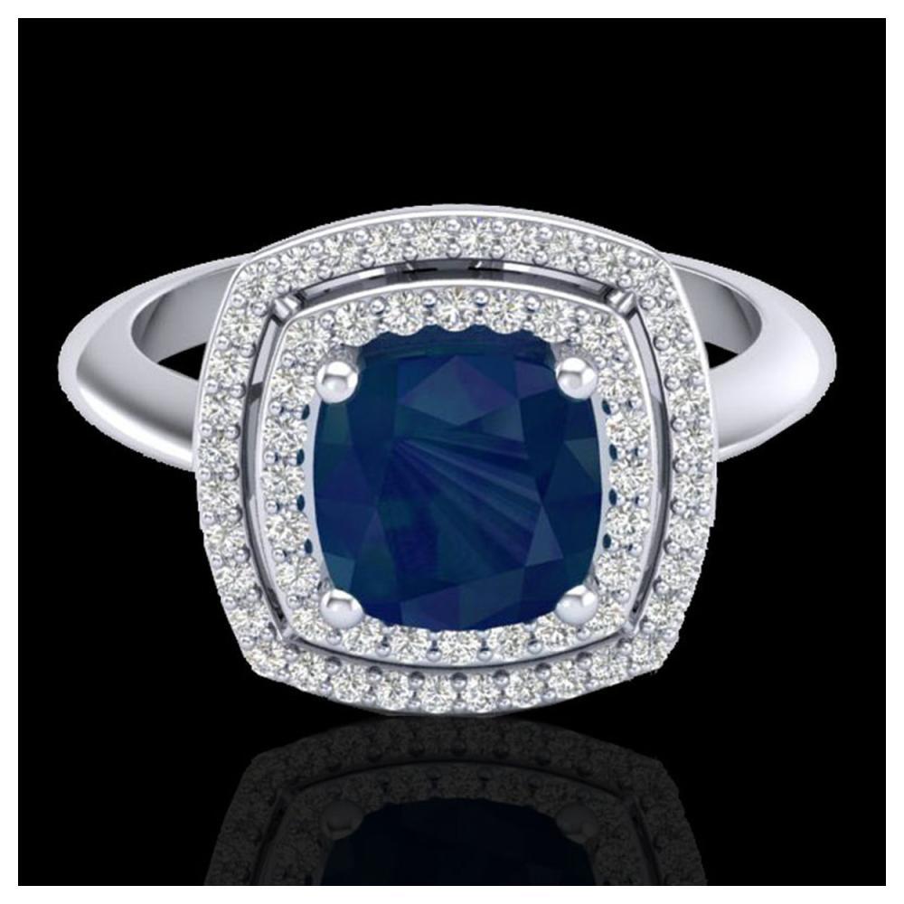 2.52 ctw Sapphire & VS/SI Diamond Ring 18K White Gold - REF-77F3N - SKU:20768
