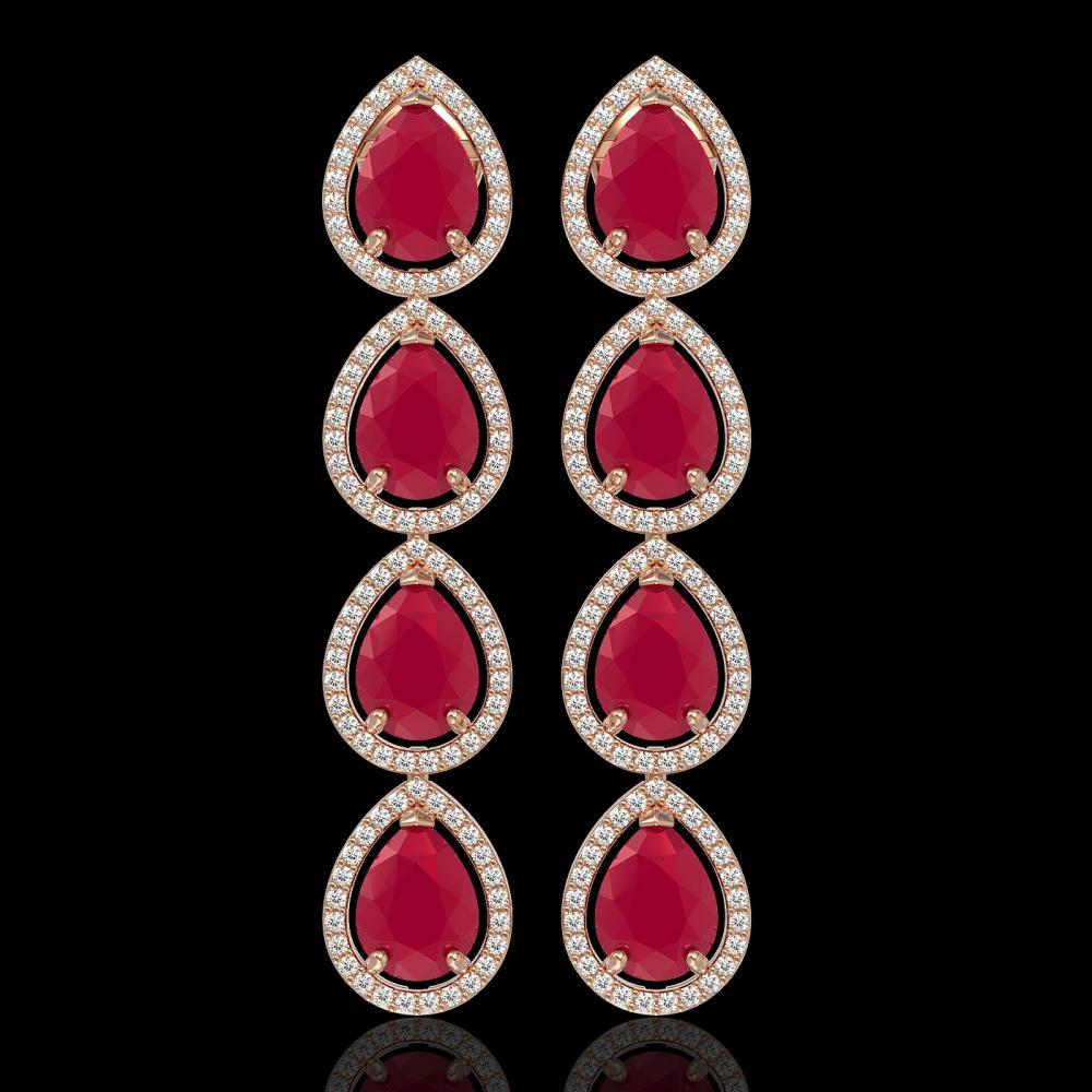 16.01 ctw Ruby & Diamond Halo Earrings Rose 10K Rose Gold - REF-236A4V - SKU:41286