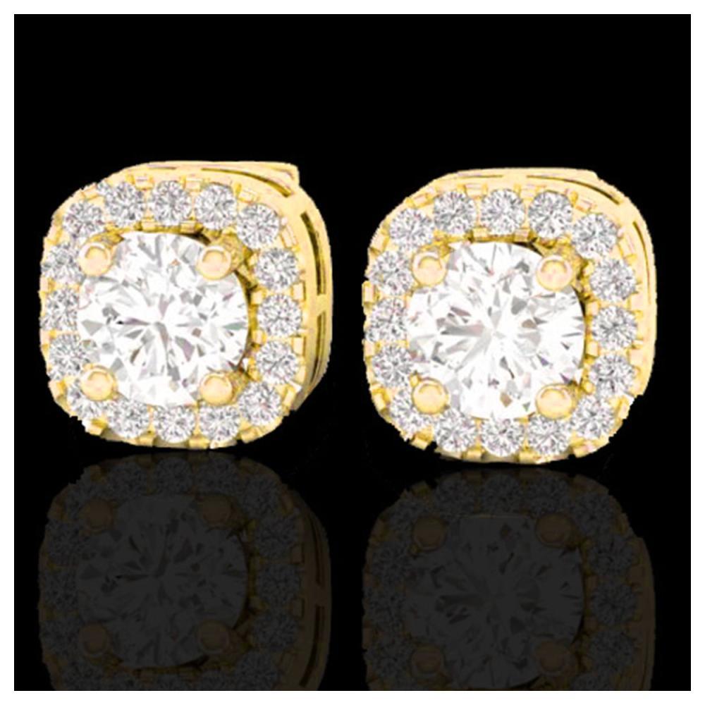 0.75 ctw VS/SI Diamond Earrings Halo 18K Yellow Gold - REF-83A6V - SKU:21175