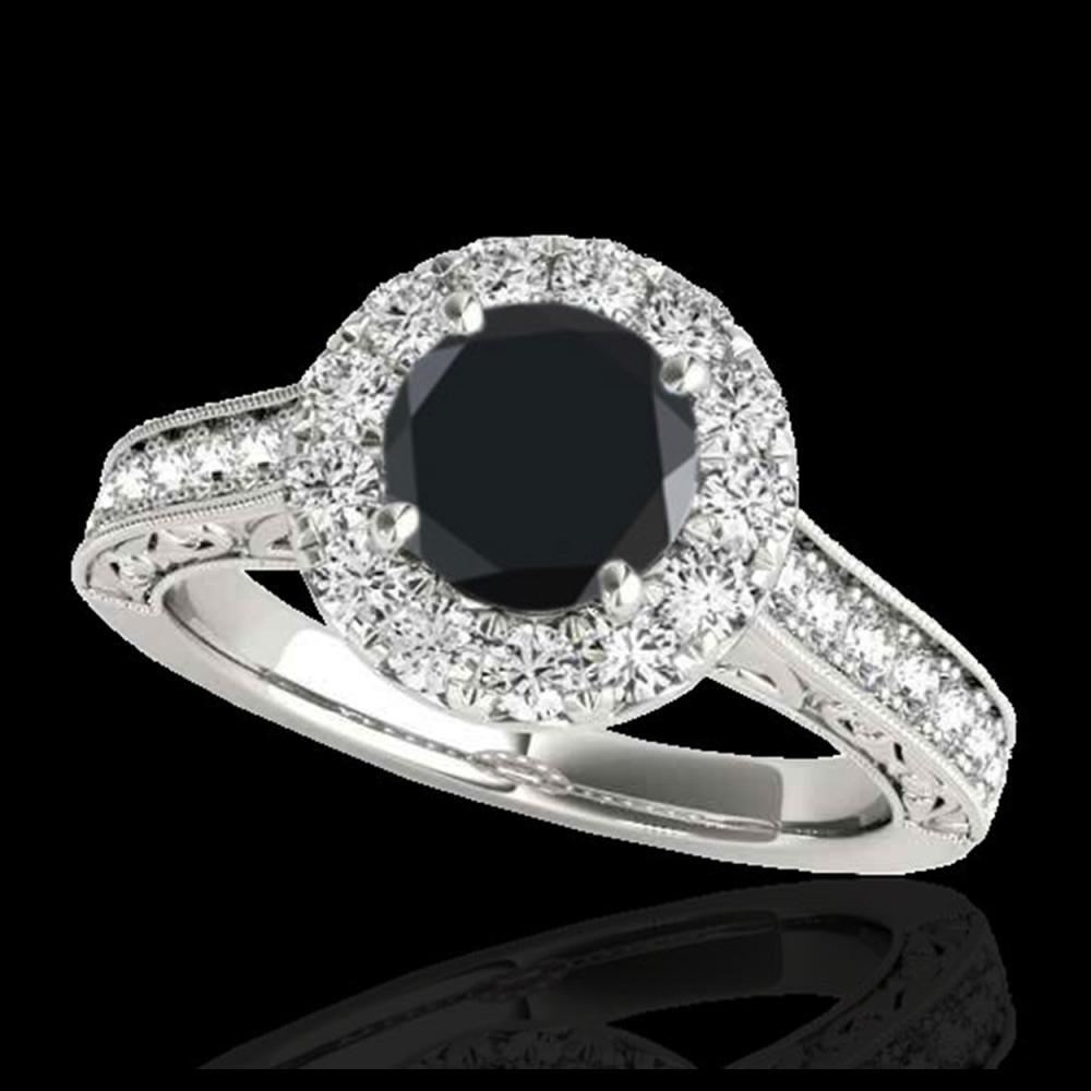 2.22 ctw VS Black Diamond Solitaire Halo Ring 10K White Gold - REF-79F3N - SKU:33736