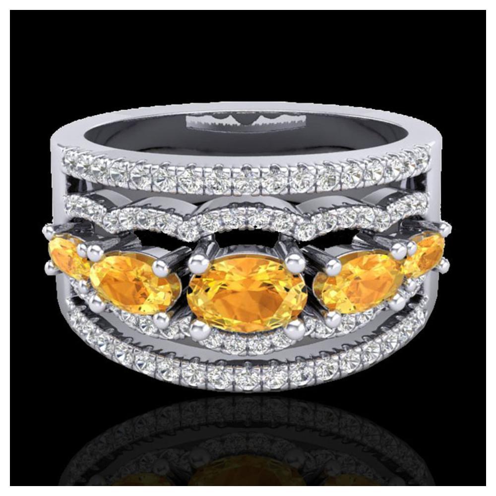 2.25 ctw Citrine & VS/SI Diamond Ring 10K White Gold - REF-71K8W - SKU:20798