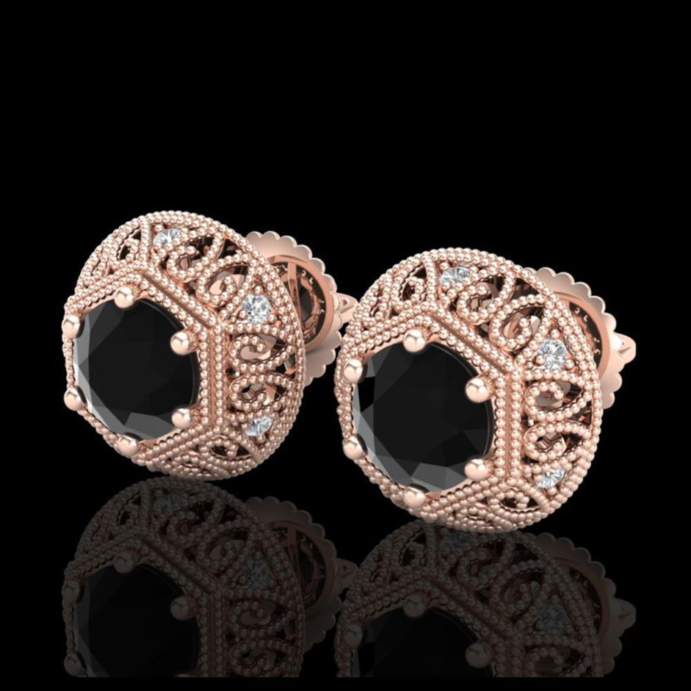 1.31 ctw Fancy Black Diamond Art Deco Stud Earrings 18K Rose Gold - REF-81K8W - SKU:37556