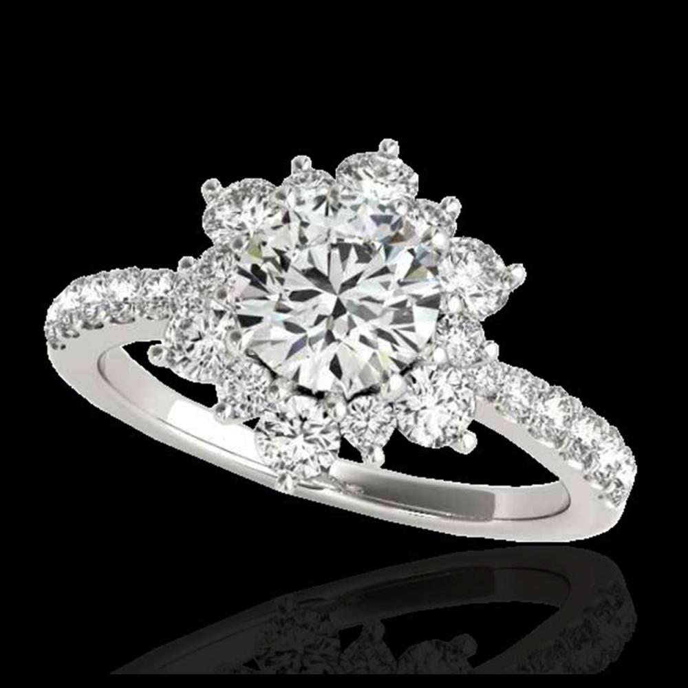 2.19 ctw H-SI/I Diamond Solitaire Halo Ring 10K White Gold - REF-218X2R - SKU:33715