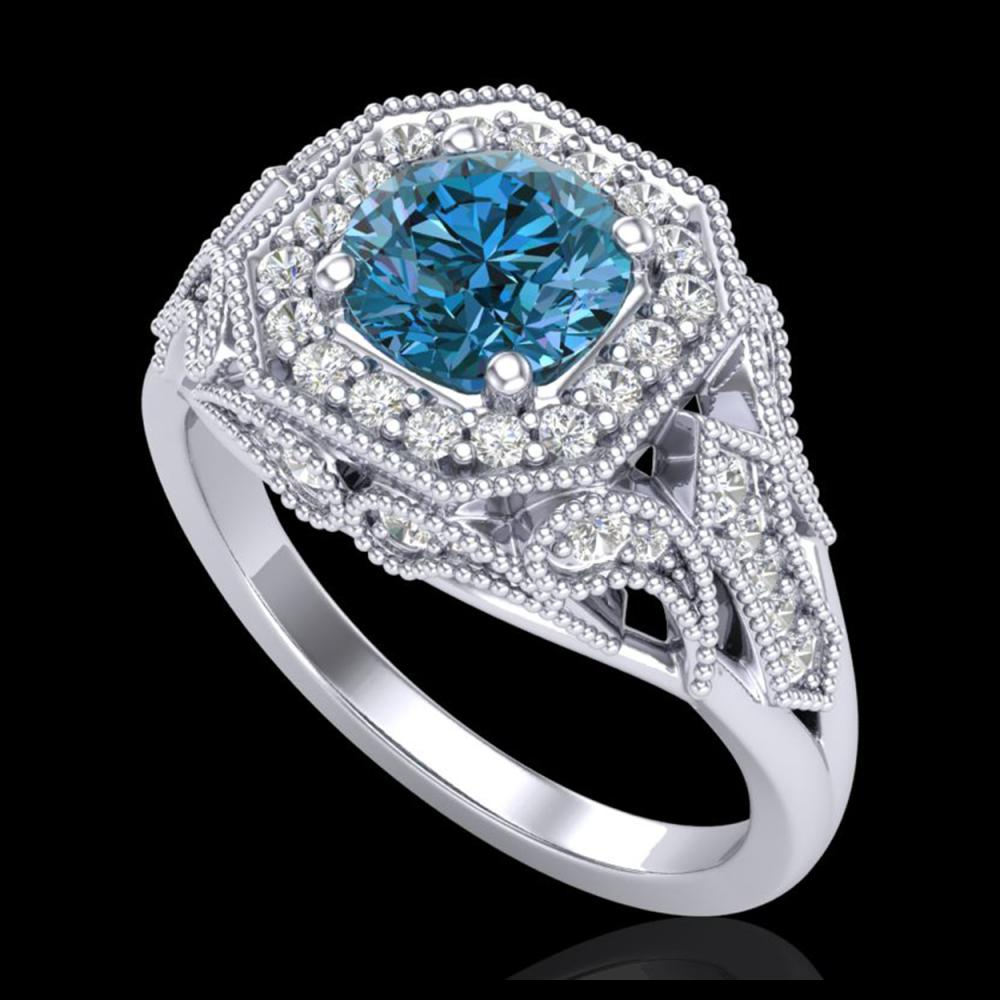 1.75 ctw Fancy Intense Blue Diamond Art Deco Ring 18K White Gold - REF-236V4Y - SKU:38279