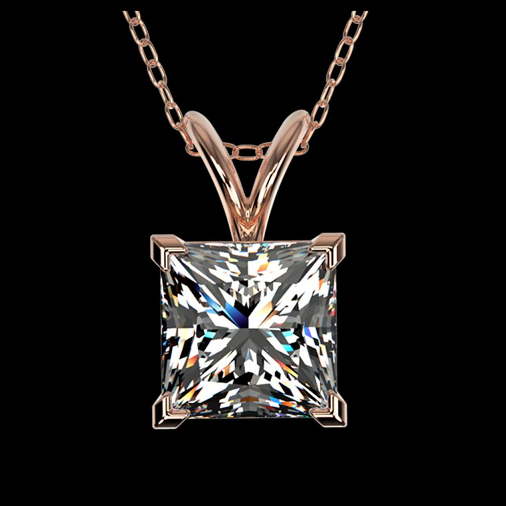 1.25 ctw VS/SI Princess Diamond Necklace 10K Rose Gold - REF-397R5K - SKU:33215