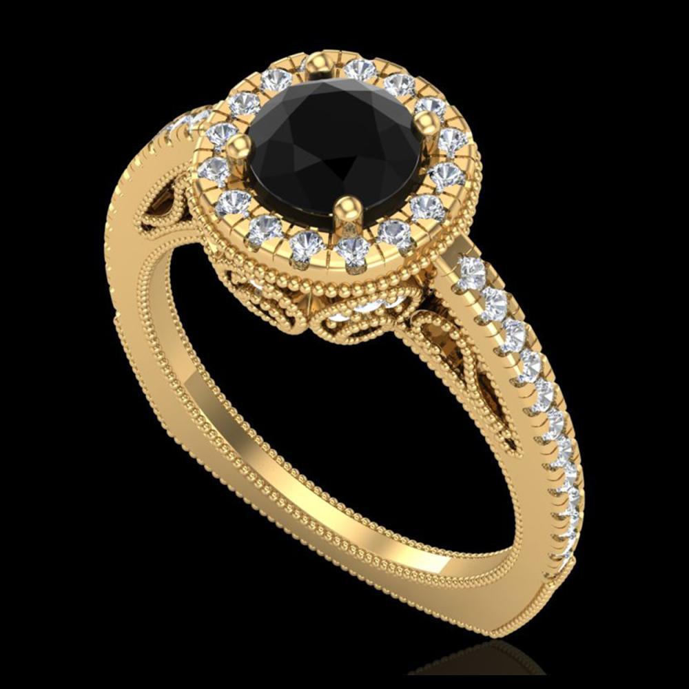 1.55 ctw Fancy Black Diamond Art Deco Ring 18K Yellow Gold - REF-136R4K - SKU:37984