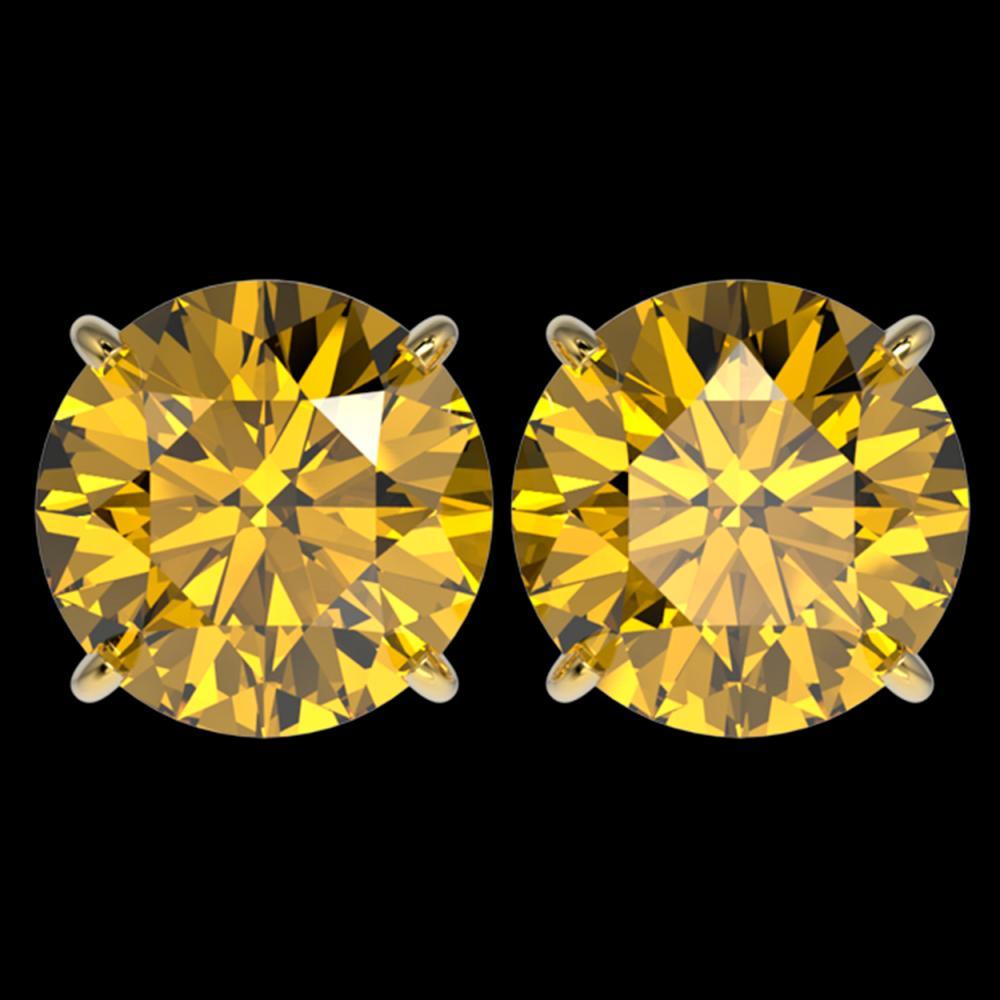 5 ctw Intense Yellow Diamond Stud Earrings 10K Yellow Gold - REF-1380H2M - SKU:33152