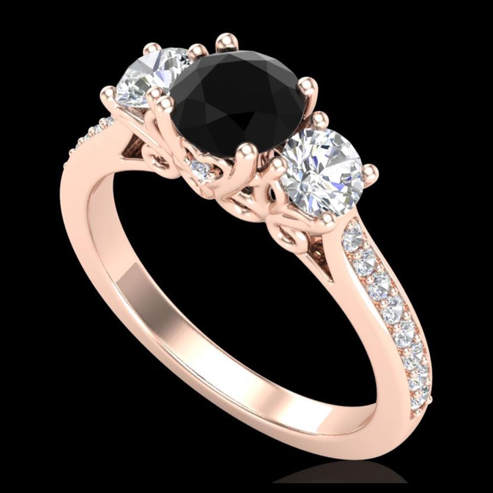 1.67 ctw Fancy Black Diamond Art Deco 3 Stone Ring 18K Rose Gold - REF-156F4N - SKU:37808