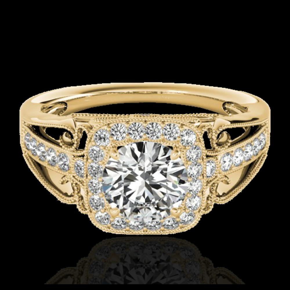 1.30 ctw H-SI/I Diamond Solitaire Halo Ring 10K Yellow Gold - REF-124X3R - SKU:33771