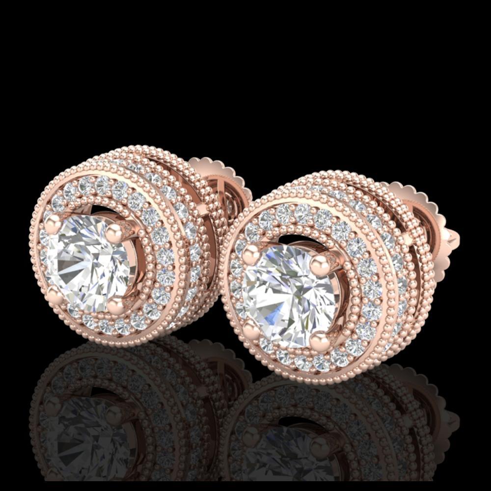 2.09 ctw VS/SI Diamond Solitaire Art Deco Stud Earrings 18K Rose Gold - REF-254V5Y - SKU:37140
