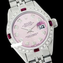 Rolex Men's Stainless Steel, QuickSet, Diam Dial & Diam/Ruby Bezel - REF#425Y5N