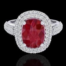 Genuine 3.50 CTW Ruby & Micro Pave Diamond Certified Halo Ring 18K Gold - 20721-REF#109A2N