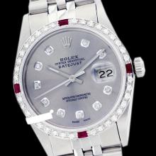 Rolex Men's Stainless Steel, QuickSet, Diam Dial & Diam/Ruby Bezel - REF#425G5R