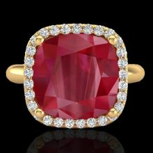 Genuine 6.0 CTW Ruby & Micro Pave Halo Diamond Certified Ring Solitaire 18K Gold - 23103-REF#53V2F