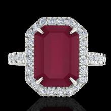 Natural 5.33 CTW Ruby And Micro Pave Diamond Certified Halo Ring 18K Gold - 21432-REF#62V2F
