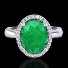 3 CTW Emerald & Micro Pave VS/SI Diamond Certified Ring Halo 18K Gold - 21103-REF-64K9W