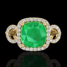 3.15 CTW Emerald & Micro VS/SI Diamond Certified Ring 18K Gold - 23002-REF-78N2Y