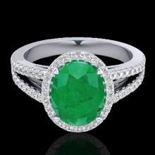 3 CTW Emerald & Micro VS/SI Diamond Halo Solitaire Ring 18K Gold - 20938-REF-78Y2V