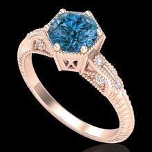 1.17 CTW Fancy Intense Blue Diamond Solitaire Art Deco Ring 18K Gold - 38035-REF-180R2N