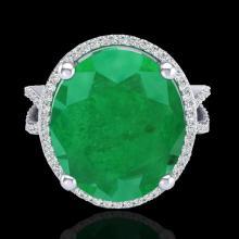 12 CTW Emerald & Micro Pave VS/SI Diamond Certified Halo Ring 18K Gold - 20960-REF-143X6H