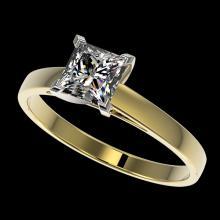 1 CTW Certified VS/SI Quality Princess Diamond Engagment Ring Gold - 32996-REF-270V3F