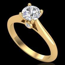 0.83 CTW VS/SI Diamond Solitaire Art Deco Ring 18K Gold - 37285-REF-200X2H