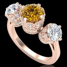 3.06 CTW Intense Fancy Yellow Diamond Art Deco 3 Stone Ring 18K Gold - 37393-REF-390F9X