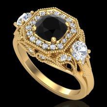 2.11 CTW Fancy Black Diamond Solitaire Art Deco 3 Stone Ring 18K Gold - 38299-REF-180V2F