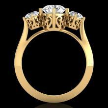 1.51 CTW VS/SI Diamond Solitaire Art Deco 3 Stone Ring 18K Gold - 37237-REF-427X3H