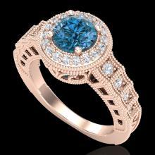 1.53 CTW Fancy Intense Blue Diamond Solitaire Art Deco Ring 18K Gold - 37650-REF-263W6M