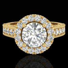 2.25 CTW Vintage Solitaire VS/SI Diamond Halo Ring 14K Yellow Gold - 21118-REF-372H2Z